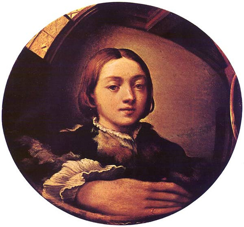 """El Parmigianino, """"Autorretrato en espejo convexo"""". Kunsthistorisches Museum, Viena."""